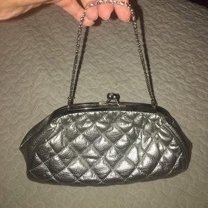 Nila Anthony Quilted Silver Clutch