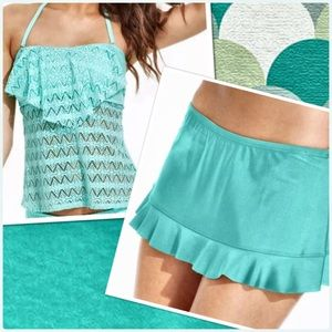 Hula Honey Other - 🆕List! Mint Crochet Flounce Skirted Tankini! NEW!