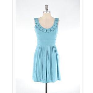 Tibi Dresses & Skirts - Tibi muted teal pleated neck mini dress