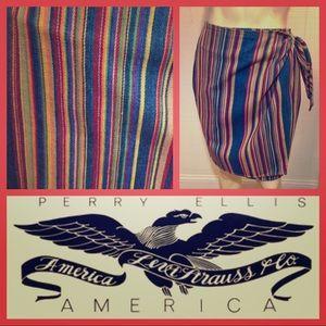 Perry Ellis Levi's America Denim Wrap Skirt Rare