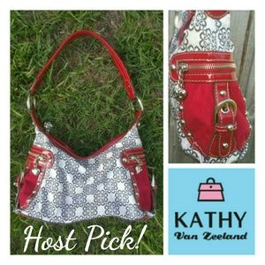 Kathy Van Zeeland Handbags - Kathy Van Zeeland Red Black White Bag