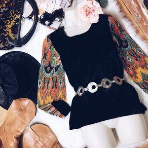 Vtg 60s Velvet Paisley Boho Bell Sleeve Blouse S