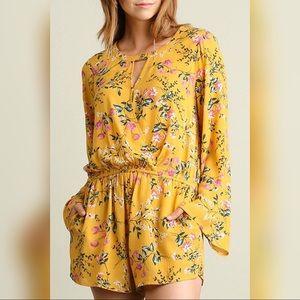 Umgee Pants - Mustard Yellow Long Sleeve Floral Romper