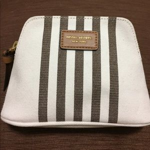 henri bendel Handbags - NWOT Henri Bendel Striped Canvas Small Domed Pouch