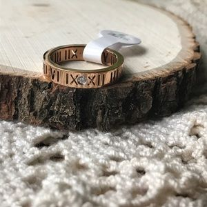 Jewelry - Rose gold Roman numeral CZ ring 7