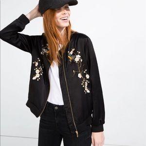 Embroidered floral zara satin bomber jacket