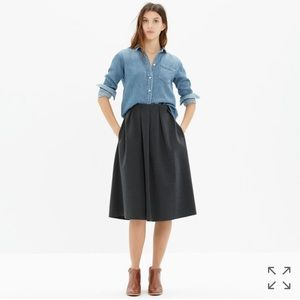 Madewell Dresses & Skirts - Madewell Pleated Ponte Midi Skirt in Grey
