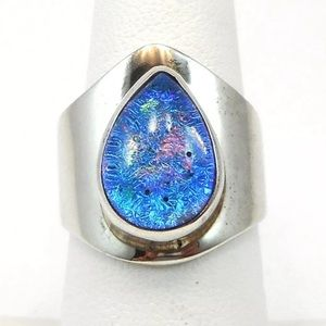 Jewelry - 925 Sterling silver art glass statement ring 7.5