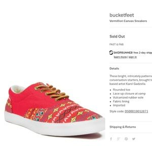 Bucket Feet Other - Bucketfeet. Vermillion Canvas Sneakers size 11