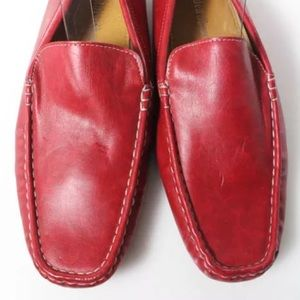 Golden Shoes Shoes - RED LEATHER CONTRAST STITCH DRIVERS SHOES SIZE 42