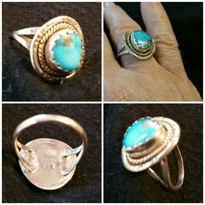 SS .925 sterling silver/turquoise ring. Size 5