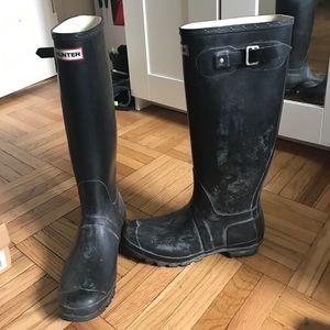 Women's Hunter 'Original Tall' Black Rainboot (8)
