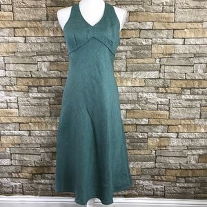 Ann Taylor LOFT Bluish Gray Halter Linen Dress