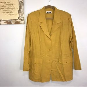 Almia Jackets & Blazers - Almia Gold Linen Blend Career Jacket Blazer 20