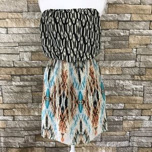 GUESS Printed Strapless Tube Dress