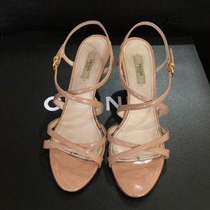Prada Nude Patent Leather Sandal