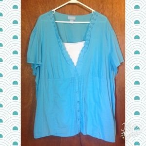 Liz & Me Tops - Cute turquoise top by Liz & Me size 4X