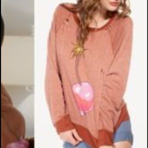 Wildfox Cherry Bomb Distressed Pullover *like new*