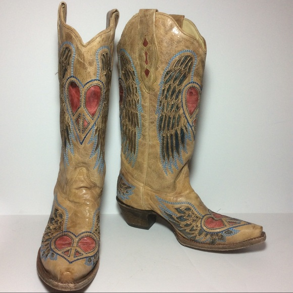 a948e07b74bf Corral Shoes - CORRAL VINTAGE Heart   Wing Saddle Leather Boot 7
