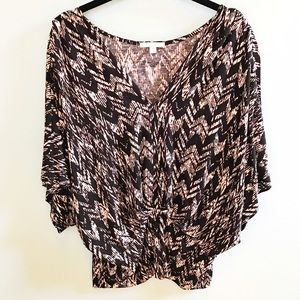 Pleione Anthropologie Black and Tan Blouse NWOT