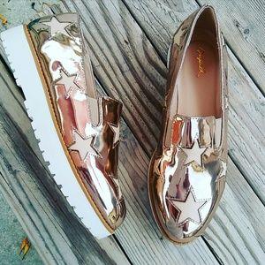 //The Amber// Rose gold star platform Sneaker