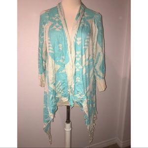 36 Point 5 Sweaters - Turquoise Blue & Gray Aztec fringe sweater Boho