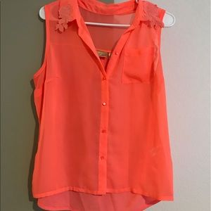 Princess Vera Wang Tops - Neon Orange Sleeveless Button Up