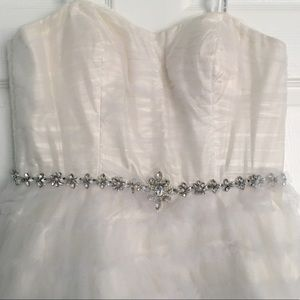Ruffle Tulle Bridal Party Dress w Embellishment