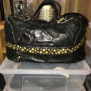 Black leather gold studded Kooba bag