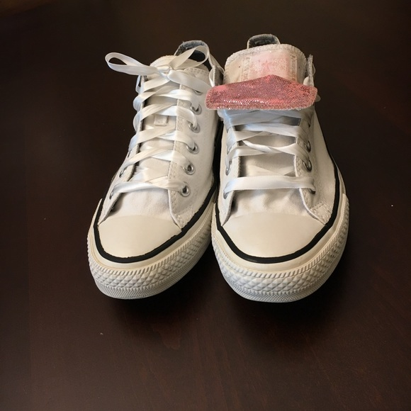 2e296cb40add Converse Shoes - White converse pink tongue ribbon laces