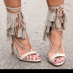 Adriana New York Shoes - Suede Fringed High Heel Sandals  size 7