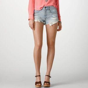 A.X.N.Y. American Exchange Pants - AE distressed light denim jean shorts. Size 0.