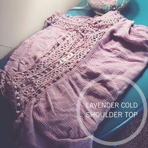 Andree Tops - •Lavender Cold Shoulder Top•