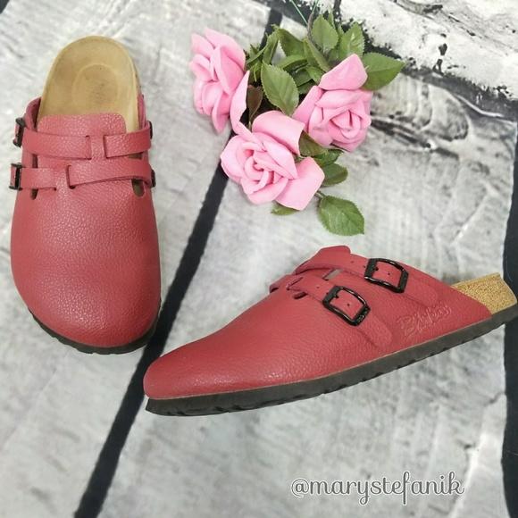 1bfa022b603f Birkenstock Shoes - Birk s Red Mule Clog Footbed Sandals size 8
