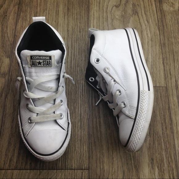 White Leather Medium Tops Sz