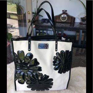 Kate Spade canvas and black patent tote.