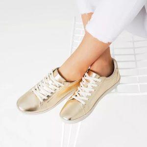 Zara Shoes - Zara Gold Leather Laminated Plimsolls Sneakers
