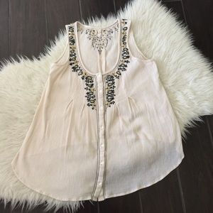 Willow & Clay embroidered tank. Willow & Clay top