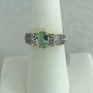 Jewelry - 🌺Final Price🌺Blue Topaz White CZ Ring 925 14KYGP
