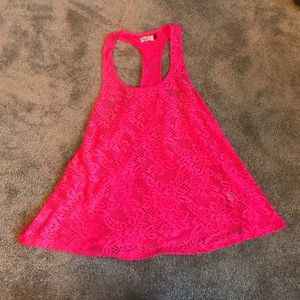 Tops - Hot pink Lace tank top size small