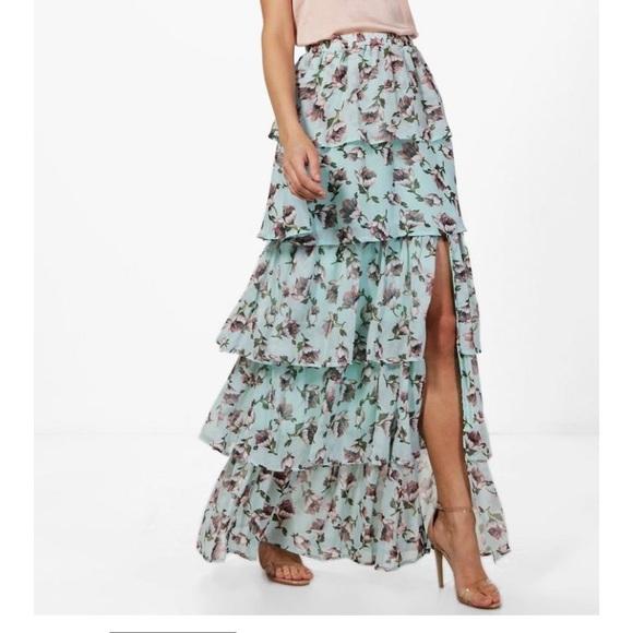 bed2356169ac Boohoo Skirts | Floral Ruffle Tiered Maxi Skirt | Poshmark