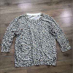 JCREW Crewneck sweater 3/4 sleeves leopard print