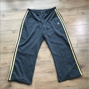 Adidas climalite cropped sweat pants zip front