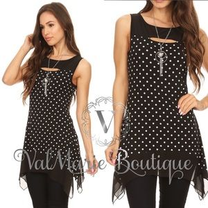 Black Polka Dot Sleeveless Tunic