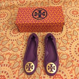 Tory Burch purple and gold Reva ballet flat.