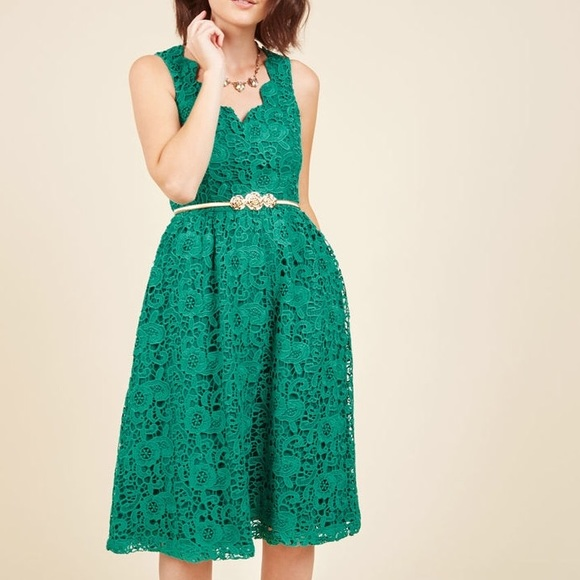 40% off ModCloth Dresses & Skirts - Modcloth Green Lace ...