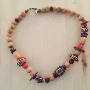 Fun Vintage Boho Artisan Wood Necklace