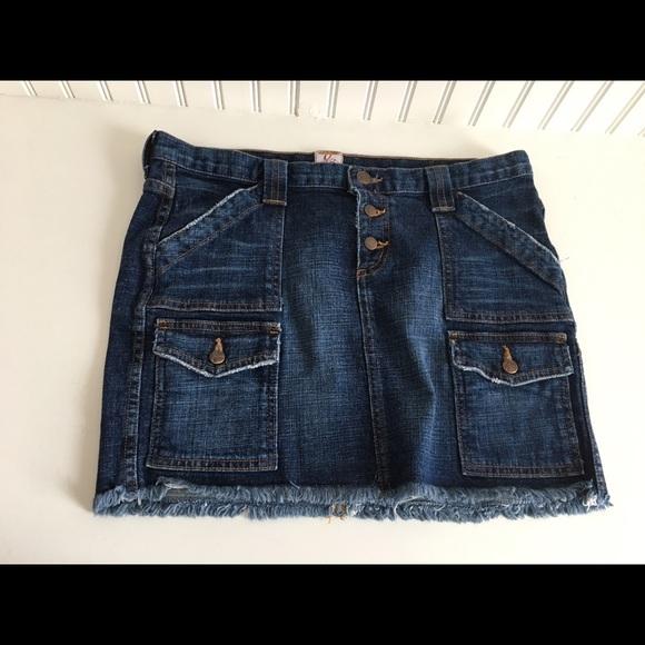 joie joie distressed denim jean mini skirt size 10 from
