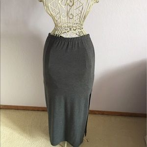 Lily White Grey Knit Maxi Skirt with Slit