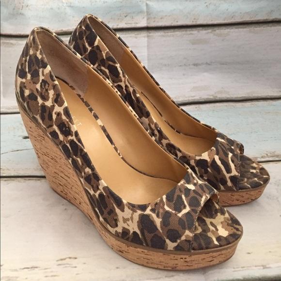 Nine West Leopard Print Peep Toe Wedges